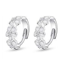 925 Sterling Silver Zirconia Flowers Huggie Earrings Fashion Women Jewelry Gifts