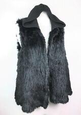 Mcginn   Women's Black Rabbit Fur Removable Hood Vest sz: Large - $595