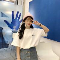 Womens T Shirts Casual Letter Print Tops Tee Summer Loose Slim Korean Tshirt Yf