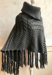 LIPSY Charcoal Grey Cable Knit Cowl Zip Fringe Asymmetric Cape Poncho Jumper M/L