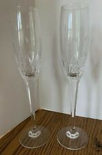 2 Cut Crystal Champagne Flutes Etched Floral Leaves Stemware Barware Glassware