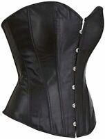 Leather Corsets for Women Bustier Lingerie Top Punk Rock, 808black, Size X-Large