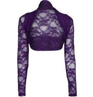 A03 Womens Cropped Lace Shrug  Bolero Plus Size Cardigan Top Size 8-26
