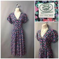 Laura Ashley Black Floral Cotton Dress UK 14 EUR 40 USA 12 Made in Great Britain