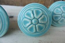 Light Aqua Blue Embossed Flower Ceramic Drawer Pull Knob ~ Cabinet Dresser