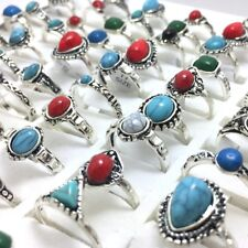 20x Wholesale Colorful Stone Mixed Rhinestone Rings Turquoises Finger Rings NEW