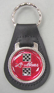 Red Pontiac Le Mans #3239 Leather Key Ring Checkered Flags 1982 1983 1984