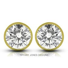 0.98ct tw G-SI3 Ex Round Cert. Diamonds 14k Bezel Set Modern Style Earrings 1.1g