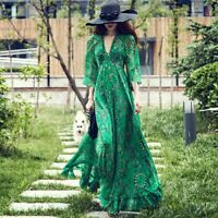 Women Boho Maxi Dress Floral Print Flowy V Neck Sexy Beach Soft Breathable Dress