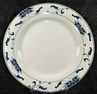 """Cameo Durable 9.25"""" White Luncheon Dinner Plate - Blue Floral Rim"""