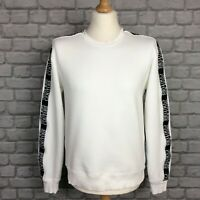 VERSACE JEANS COUTURE MENS UK M WHITE TAPE ARM LOGO JUMPER RRP £240
