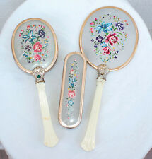 ANCIEN SET DE TOILETTE  MIROIR BROSSES VINTAGE 3 PIECES