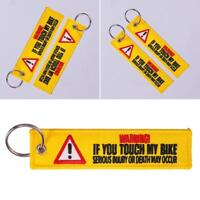 1PC Keychain Tag Keychains Embroidery Yellow Danger Launch Key Ring Chain