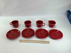 4 Matching Red Fiestaware Cups & Saucers