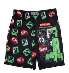 Minecraft Boys Black Printed Pajama Shorts Size 4/5 6/8 10/12 14/16