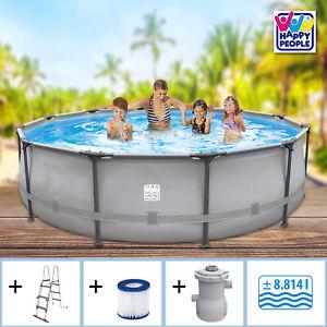 Swimming Pool Set 366x100 Frame Schwimmbecken Schwimmbad Stahlwand Stahlrahmen