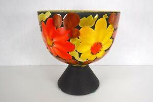 Vintage Enamel Ceramic Vase Italy Orange Yellow Flower Power Retro 60's 70's