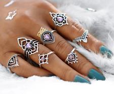 Set of 7 Amethyst Rings Vintage Tibetan Silver Tone Ring Set Fashion Jewellery