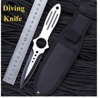 Outdoor Hunting Full Tang Stainless Steel Dive Knife with Holster Sheath