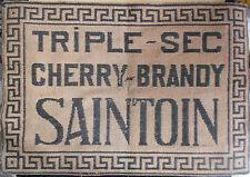 Ancien TAPIS DE JEU DE CARTES Bistrot TRIPLE-SEC Cherry-Brandy SAINTOIN