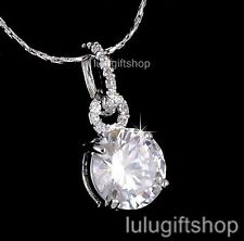 18K WHITE GOLD PLATED DIAMANTE SOLITAIRE PENDANT NECKLACE USE SWAROVSKI CRYSTAL
