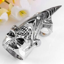 Punk Gothic Silvery Ghost Skull Knuckle Armour Double Ring Cosplay Jewelry