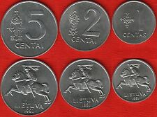 Lithuania set of 3 coins: 1 - 5 cents 1991 UNC