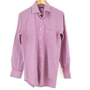 Peter Millar Button Down Shirt Men M Purple Check Long Sleeve Pocket Cotton