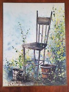 Vintage Rustic Splatter Art Print Lamanate Wood Gold Trim Still Life 16x20
