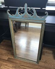 Antique Vintage Chippendale French Style Carved Painted Wall Mirror