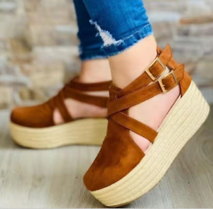 Women New Round Toe Faux Leather Ankle Strap Buckle Wedge Platform Casual Shoes