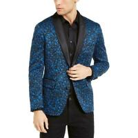 INC Mens Blazer Blue Black Size XL Printed Two-Button Slim Fit Knit $149 #094