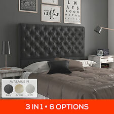 Upholstered Bedhead Fabric PU Leather Bed Head Headboard Queen King Sizes Framed
