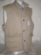 ABERCROMBIE & FITCH CO Vest Sz XL Cotton Solid Beige Snap Front Made Singapore