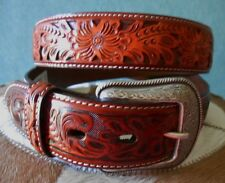3D LEATHER MENS WESTERN BELT 1 1/2 Inch Tooled Mahogany RODEO CUTTING REINING 40