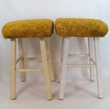 "2 Vintage Wood Short Bar Vanity Stools Shabby But Chic 20"" 00101010"
