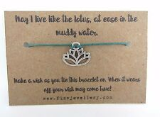 Yoga Lotus Flower Silver Plated Tie On Message Card Wish Bracelet Yogi Gift