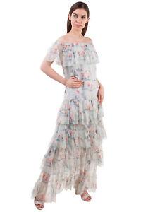 RRP €1895 VILSHENKO Silk Maxi Dress Size 16 / 2XL Floral Scoop Neck Made in UK