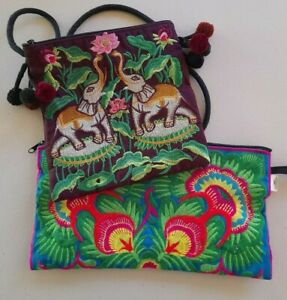 Shoulder Bag traditional Embroidery Pom Poms and Clutch  Make up Bag by Sam Well
