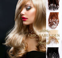 """1g/s 16"""" 18"""" 20"""" 22"""" 24"""" Double Drawn Easy Loop Micro Ring Human Hair Extensions"""