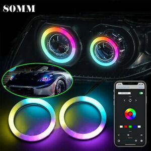 APP Control RGB LED Angel Eyes Light 2x 80mm 5050 Headlight with Halo Ring