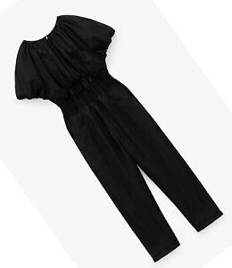 ZARA NEW WOMAN CUT-OUT JUMPSUIT BALLOON SLEEVES BLACK XS-XL  8372/078