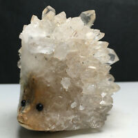 226g Natural White Crystal Cluster Specimen,Hand-Carved . The Hedgehog. Healing