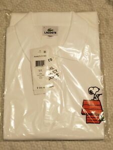 Lacoste x Peanuts Snoopy Polo Shirt White Mens Size 5 Large Peanuts Collab