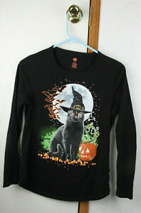 Halloween Cat Long Sleeve T shirt Children's Small Size 4-6