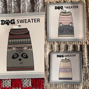 3 Dog Sweaters Size Medium Brand New Girls Cat Adorbs Raccoon Novelty Theme Cute