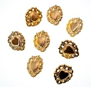 """Golden Lace Heart Buttons,Bow,8x,(0.7""""x 0.6"""")Plastic"""