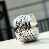 Solid 925 Sterling Silver Wide Band Spinner Ring Meditation Statement Ring GN251