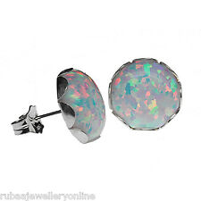 10mm ROUND SYNTHETIC WHITE OPAL CABOCHON 925 STERLING SILVER STUD EARRINGS