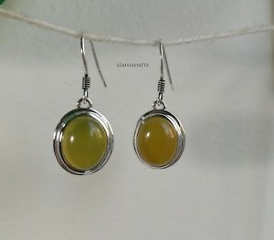 Genuine natural yellow Chalcedony in 925 sterling silver dangle earrings